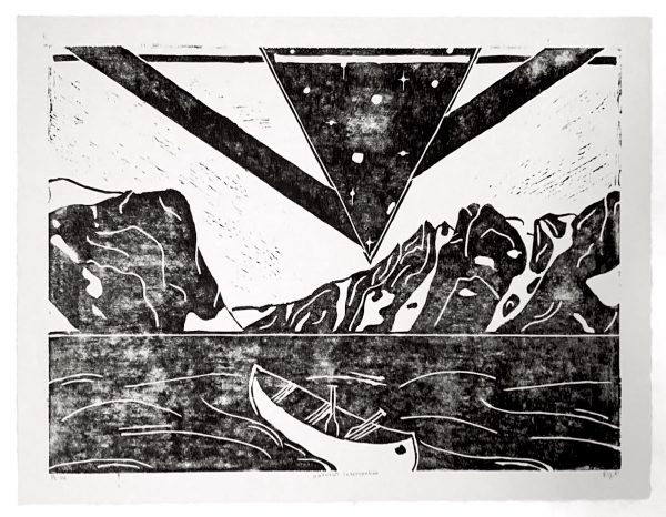 """Patrick Persichetti. Natural Intervention, Linoeum Relief (Middle of Triptych at 18""""x 24"""")"""