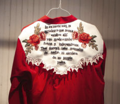 Embroidered Red Shirt with White Details, Black Lettering, and Red Roses
