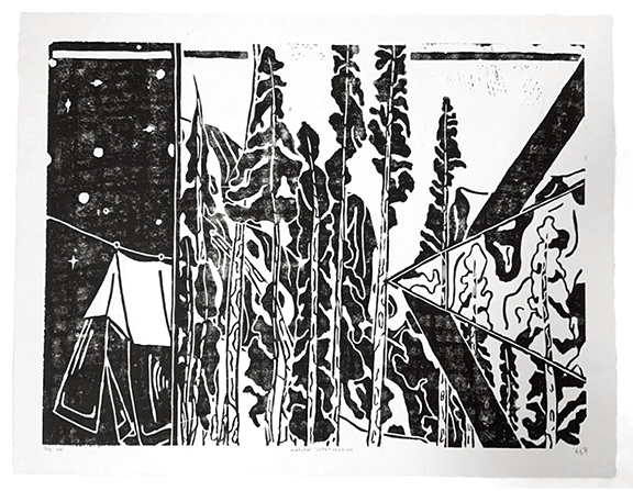 Patrick Persichetti_Printmaking_Natural Intervention_Linoeum Relief (Left side of Triptych at 18in x 24in)