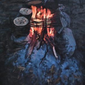 Erika Osbourne's painting of a campfire